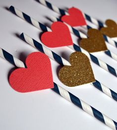 Navy Blue, Coral and Gold, Bridal Shower or Wedding Reception Heart Straws by PopFizzHooray on Etsy