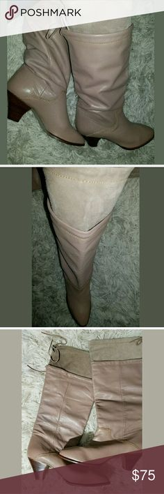 ?? Vintage 2-Layer Sock Lined Leather Knee Boots 1st Editions Classics. Runs about a half size small. I wear an 8 and they fit me perfectly.   Gorgeous boots!!!   2.75 inch heel.  15.5 inch calf circumference.  15 inch shaft height.   LB Vintage Shoes Heeled Boots
