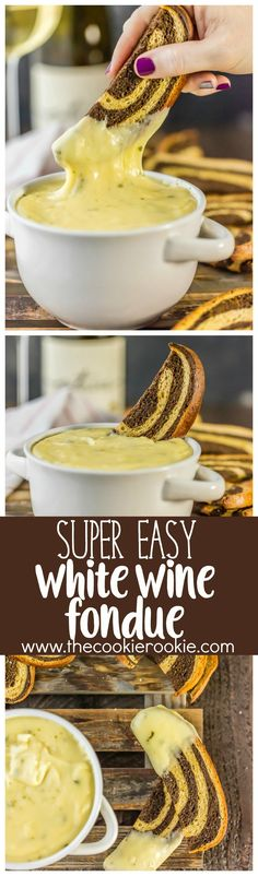 SUPER EASY WHITE WINE FONDUE! Made with swiss, gouda, and of course white wine. Easy, cheesy, melty, and delicious recipe! Made in minutes! Served with marbled rye crostini!