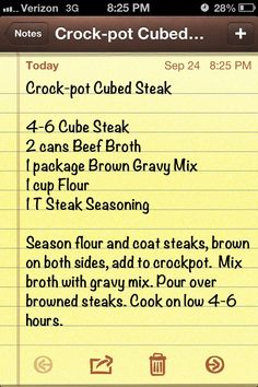 Crockpot cubed steak/ I have added onions or fresh sliced mushrooms c water no broth to 1 pack of gravy mix w steak sauce. I only used 2 cubed stakes floured with black pepper and parsley. I used a mini crock pot. works very well :) Crock Pot Food, Crockpot Dishes, Crock Pot Slow Cooker, Beef Dishes, Slow Cooker Recipes, Food Dishes, Crockpot Recipes, Crock Pot Cube Steak, Crock Pots