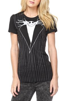 The Nightmare Before Christmas Jack Suit Girls T-Shirt. Shop Hot Topic at Scarborough Town Centre. #black #white