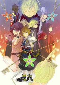 Kingdom Hearts-Sora, Kairi, Riku, Axel. Roxas, Xion, Terra. Aqua, and Ven