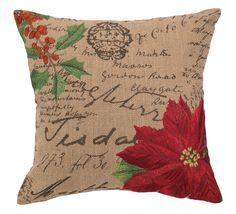 Poinsettia Burlap Wool Throw Pillow
