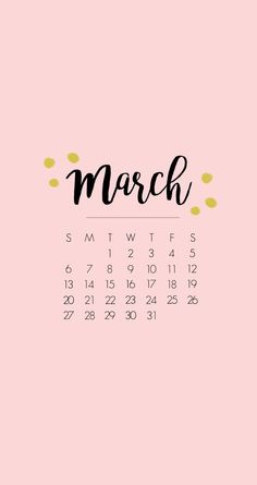 iPhone6 lock screen wallpaper / March 2016 Calendar / Paper and chic.