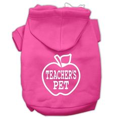 Teachers Pet Screen Print Pet Hoodies Bright Pink Size XL (16)