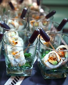 27 Delicious Spring Wedding Appetizer Ideas: sushi with soy sauce pipettes is a creative serving idea Raw Food Recipes, Appetizer Recipes, Appetizer Ideas, Cooking Recipes, Appetizer Display, Brunch, Gourmet Breakfast, Wedding Appetizers, Catering Food