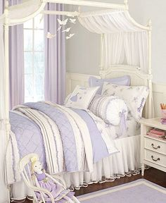Oh how my Mae would love the Pottery Barn Kids Brigette Fairy Bedroom. Little Girl Canopy Bed, Girls Canopy, Fairy Bedroom, Canopy Bedroom, Canopy Beds, Canopies, Bedroom Wall, Teen Girl Bedrooms, Little Girl Rooms