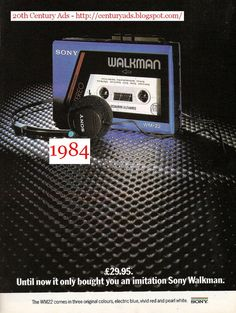 Magazine advertisement for the Sony Stowaway personal stereo, launched in In it would be called the Walkman. To say thei. Sweet Memories, Childhood Memories, School Memories, Vintage Ads, Vintage Posters, 80s Ads, 1980s, Sony Electronics, Growing Up