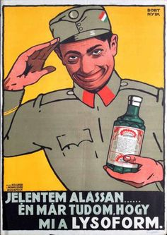I already know what Lysoform is Artist: Sándor Bortnyik 1915 Illustrations And Posters, World War I, Vintage Posters, Nostalgia, Art Deco, Humor, History, Fun, Movie Posters