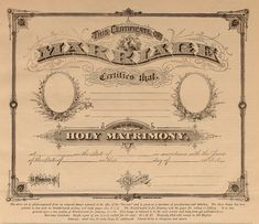 Marriage Certificate (blank) ca. 1880's