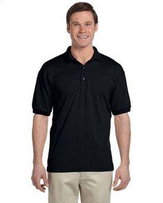 New Gildan Adult Jersey Golf Polo Shirt Black Short Sleeve 50/50 Embroidery #Gildan #Polo