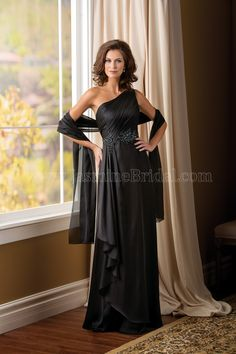 Jasmine Bridal Mother of the Bride/Groom Dress Jade Couture Style K178006 in Black. This elegant gown will put you a cut above the rest at your next special occaison. This amber satin chiffon gown has a stylish one-shoulder neckline, A-line skirt, ruching on the shoulder strap, and intricate beading along the waistline.