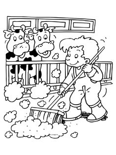 Boer yn 'e stâl Farm Animal Coloring Pages, Coloring Pages For Boys, Free Printable Coloring Pages, Colouring Pages, Coloring Sheets, Coloring Books, Craft Activities For Kids, Preschool Themes, Animals For Kids