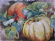Watercolor by E. Lindsey Hornkohl  Pumpkins