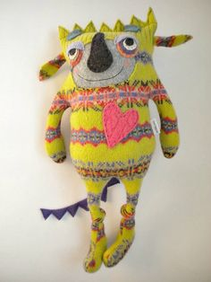 Monster Stuffed Animal Upcycled Wool Striped by sweetpoppycat, $50.00