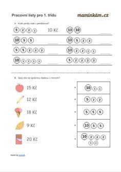 Pracovní listy 1. třída - matematika - počítání do 20 - peníze Videos Funny, Education, Montessori, Cas, Geometry, School, Teaching, Onderwijs, Learning