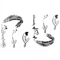 GGSELL The New release tattoo stickers waterproof female black and white letters of the alphabet ECG feather fake tattoos Mini Tattoos, Fake Tattoos, Arrow Tattoos, Body Art Tattoos, Small Tattoos, Tatoos, Feather Tattoo Design, Feather Tattoos, Feather Art