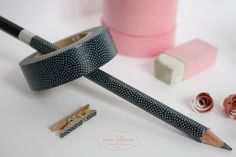 Pecil, eraser, clip makeover with Washi Tape