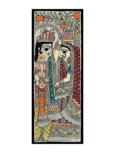 Radha Ji Krishna Ji Madhubani Painting - x Mural Painting, Fabric Painting, Painting & Drawing, Painting Canvas, Phad Painting, Dress Painting, Madhubani Art, Madhubani Painting, Landscape Art Lessons