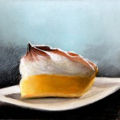 Lemon meringue pie  pastel drawing  still life  by KatkasArtStudio