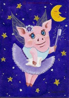 ACEO original pig tooth fairy moon night sky and star tooth brush tutu dress
