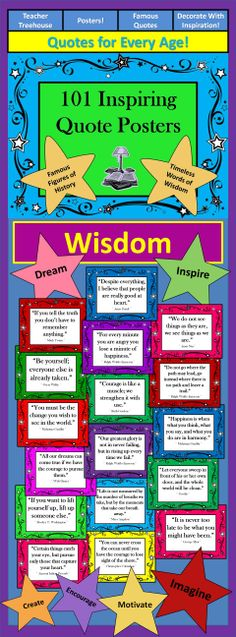 Bring words of wisdom to your students from the prominent voices of the modern and ancient world with this beautiful bundle of 101 printable posters! Decorate your classroom in a way that inspires your students! Posters include quotes from: - Martin Luther King Jr. - Ralph Waldo Emerson - Michael Jordan - Robert Louis Stevenson - Nelson Mandela - Aristotle - Benjamin Franklin - Anne Frank - Oprah Winfrey - Albert Einstein - Oscar Wilde - Mark Twain - William Shakespeare - And many many more!