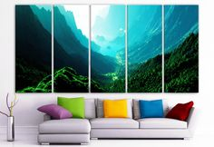 "XLARGE 30""x 70"" 5 Panels Art Canvas PrintBeautiful Nature mountain sunset canyon mountain river trees Wall Home (Included framed 1.5"" depth)"