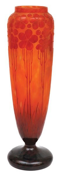 An acid etched cameo glass vase by Charles SCHNEIDER for LE VERRE FRANCAIS, circa 1925 of slender tapered cylindrical form, acid etched with poppies on a graduated orange ground, incised mark Le Verre Francais, 39.5 cm high (hva)