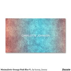Minimalistic Grungy Pink Blue Vip Business Card