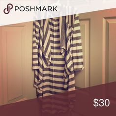 Gray and White Striped Long Cardigan Gray and White Striped Long Cardigan. No damage or wear and tear. Like new. Poof! Sweaters Cardigans