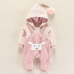 Baby/'s Cute Deer Faux-two Long Sleeve Jumpsuit Autumn Winter Cotton Newborn Infant Baby Striped Print Romper Outfits Toddler Baby Girl Fashion, Toddler Fashion, Kids Fashion, Baby Outfits Newborn, Baby Boy Outfits, Kids Outfits, Baby Pink Clothes, Baby Boy Monogram, Stylish Baby