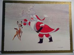 60s Mid Century Ralph Hulett Santa Tempts His Reindeer Vtg Christmas ...