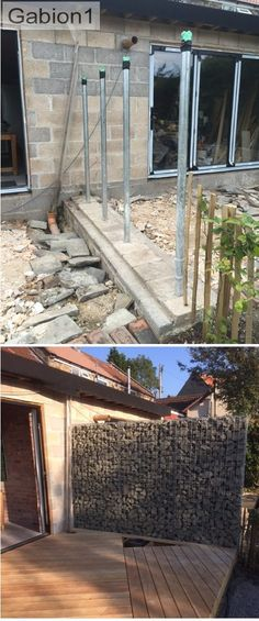 supported gabion wall, showing the galv pipes before the gabions placed http://www.gabion1.co.uk