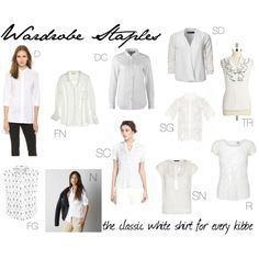Wardrobe Staples: the classic white shirt for every kibbe by sarah-longwell-stevens on Polyvore featuring DKNY, American Eagle Outfitters, NY Collection, Tahari by Arthur S. Levine, VILA, CP Shades, Vero Moda, Violeta by Mango, A.L.C. and ONLY