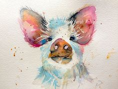 Fine art Giclee Print of this cute piggy, A4 in size 21cm x 30 cm , each print signed.