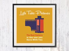 Retro Art Print Digital Art Print Lets Take Pictures by LooveMyArt