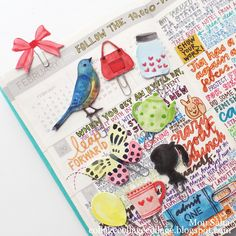 Planner Embellishments created by Mou Saha from My Life in Collage. Using Brenda Walton And Lori Whitlock dies by Sizzix