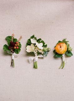 mixed boutonnieres, photo by Faith Teasley http://ruffledblog.com/bloomsbury-farm-wedding-inspiration #grooms #flowers