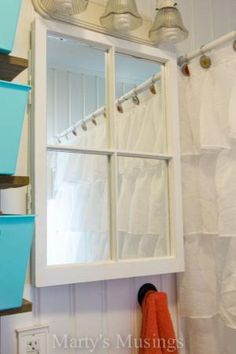 Old Window Mirror! Small Bathroom Remodel from Marty's Musings by Maiden11976