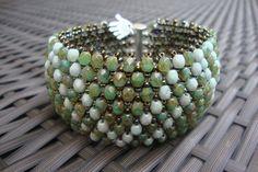 Green Capricho bracelet from Czech firepolished glass by Davianna