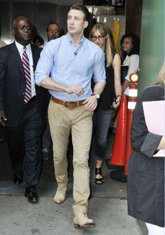 Chris Evans chemise bleue