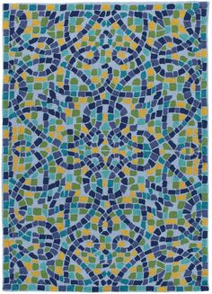 Cobalt Mosaic Rug. DesignNashville.com Color Gallery Rugs, cobalt, blue, green, and golden yellow