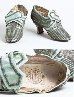 Light blue satin shoes with silver braid, c. 1770. The label inside one shoe indicates that these were made in London by Thos.