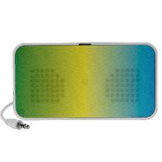 Degraded rectangle design, blue, yellow, green mini speaker
