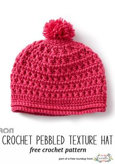 Crochet this easy pebbled texture kids child hat from Yarnspirations from my winter kids hats free pattern roundup!