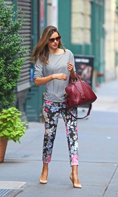 Miranda Kerr Celine Pants and Louis Vuitton Sofia Coppola Bag