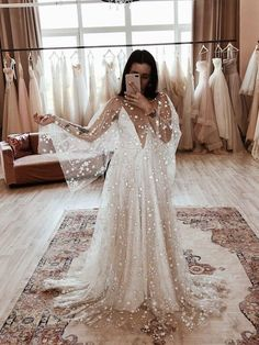 Counting Stars Boho Wedding Dress by Boom Blush. Unique Vintage Bohemian Backless Gown 2019 with Sleeves, Unique Lace and A Line Skirt Counting Stars Boho Wedding Dress by Boom Blush. Wedding Dress Trends, Boho Wedding Dress, Dream Wedding Dresses, Wedding Gowns, Lace Bridal Dresses, Indian White Wedding Dress, French Wedding Dress, Sequin Wedding, Wedding Confetti