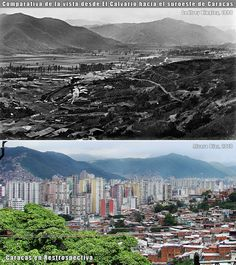 Comparativa de la vista del suroeste de Caracas desde El Calvario (1890-2010) Urban Fabric, My Town, City Photo, River, Mountains, Outdoor, Beautiful, Workshop, Doll