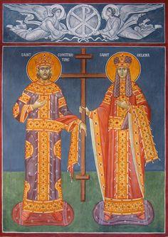 Constantine & Helen - May 21 Christian Drawings, Christian Art, Byzantine Icons, Byzantine Art, Religious Icons, Religious Art, Roman Church, Russian Orthodox, St Helena