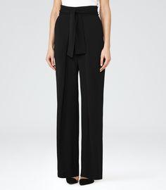 Womens Black Wide-leg Trousers - Reiss Eve